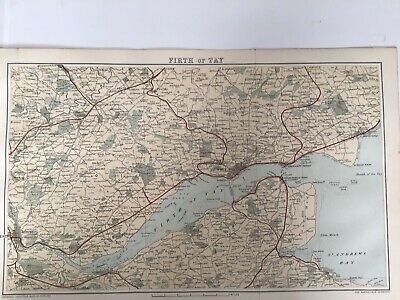 Firth of Tay, 1885 Antique County Map, Bartholomew, Atlas, Scotland, Colour