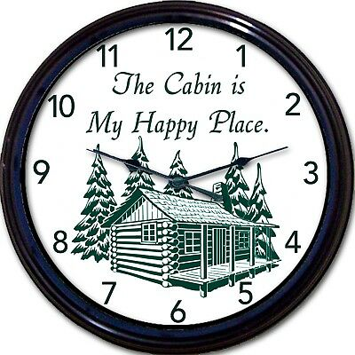 """Cabin Lake Cottage Wall Clock Mountains Happy Place Lodge Vacation New 10"""""""