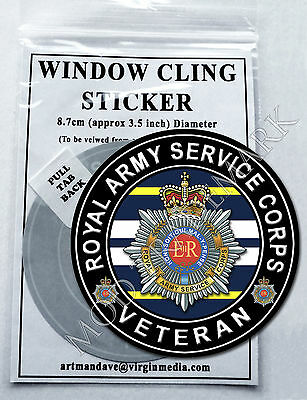 ROYAL ARMY SERVICE CORPS - VETERAN, WINDOW CLING STICKER  8.7cm Diameter