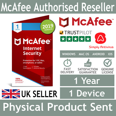 McAfee Internet Security 2019 1 Device 1 Year - Physical Delivery by Post