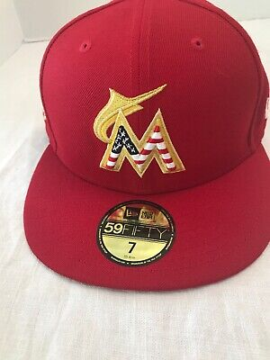 low priced db401 43e43 New Era MLB Miami Marlins 2018 4th of July Stars   Stripes Fitted Hat ...