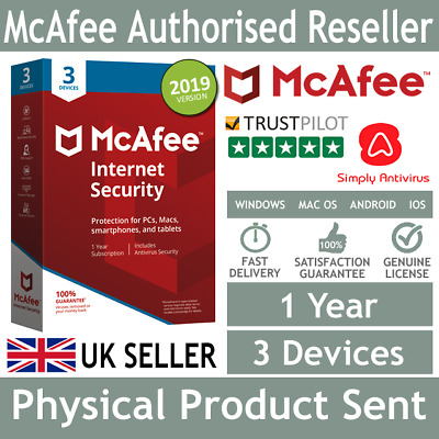 McAfee Internet Security 2019 3 Multi Devices 1 Year - Physical Delivery by Post