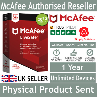 McAfee LiveSafe 2019 Unlimited Multi Devices 1 Year - Physical Delivery by Post