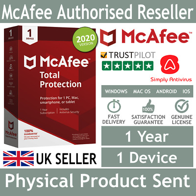 McAfee Total Protection 2019 1 Device 1 Year - Physical Delivery by Post