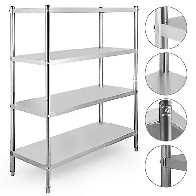 Stainless Steel Garage Shelving Unit 4 Tier 155x120x48cm Racking Shelf Storage