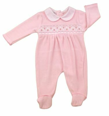 Baby Girl Clothes Spanish Romany Style smocked pink velour sleepsuit 0 -9 month