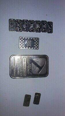 1 Troy oz  .999 Fine Silver 7 - 1 gram bar and 1- 10 gram lot look bonus