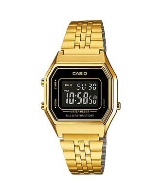 Casio  Ladies Mid-Size Gold Tone Digital Retro Vintage Watch NEW LA680WGA-1B