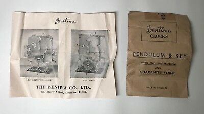 Vintage Collectable 'The Bentima Co.Ltd'. Clock Setting Instructions. Mantel.