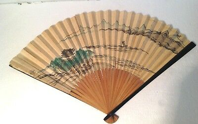 Antique Chinese Ladies Hand Fan black lacquer Hand painted Intricate painting