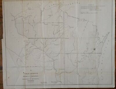 1851 Public Surveys in the State of Wisconsin and Territory of Minnesota Map