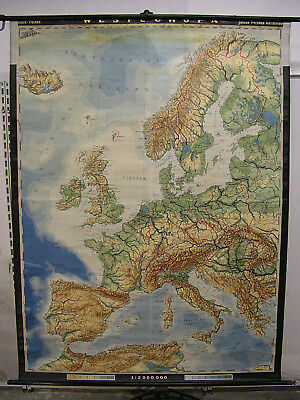 Schulwandkarte Beautiful Western Europe England France Map 159x211 Vintage 1956