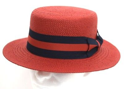 Mens Dress Casual Boater Hat Skimmer Sailor Barbershop Straw Red S, M, L, XL