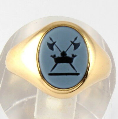 Antique 18Ct Gold Signet Seal Ring With Agate Crest Intaglio Of Coronet And Axes