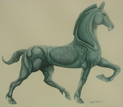 Original Tonal Watercolor Painting Greco-Roman Horse stylized OOAC Framed Matted