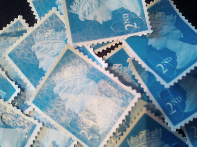 100 x 2nd class stamps off paper no gum blue unfranked art