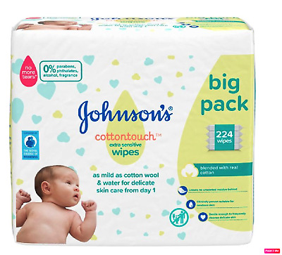 Johnson's Baby Cotton Touch Wipes  4 x 56  Pieces****FREE SHIPPING***