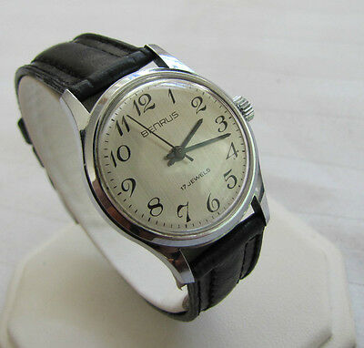 Benrus Vintage 17 Jewel Manual Wind German Puw Cal 560 Super Dial!