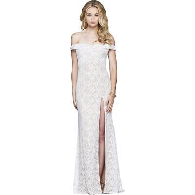5895a6d125e8 Faviana Womens Ivory Lace Prom Special Occasion Evening Dress Gown 16 BHFO  3540