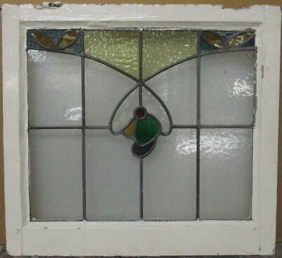"OLD ENGLISH LEADED STAINED GLASS WINDOW Colorful Sweep Design 21.75"" x 20"""