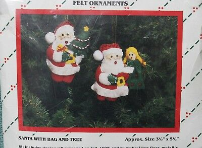 SANTA WITH BAG AND TREE Felt Ornaments Kit  TRADITIONS  NIP