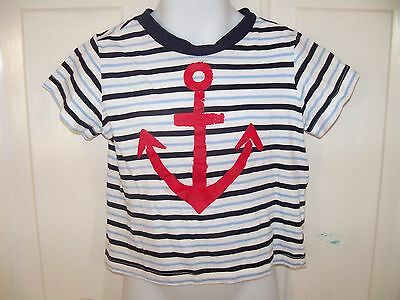 First Impressions Play Striped Anchor T-Shirt Size 24 Months Boy NWOT