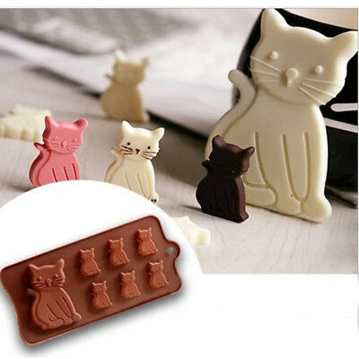 Flexible Silicone Cat Cake Ice Mold Chocolate Mold Jelly Fondant Silicone Mould