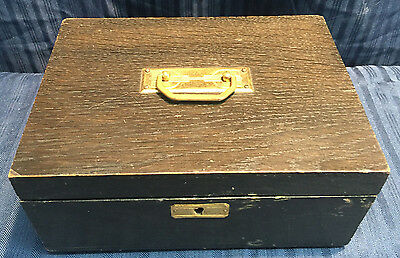 Vintage Wood Mission Style Mid Century Box Wooden Brass Handle