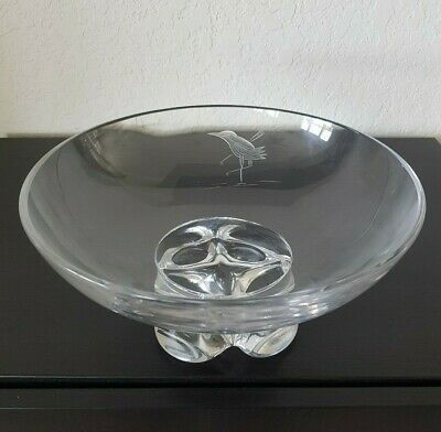 "MID CENTURY Signed VAL ST LAMBERT ART CRYSTAL 10"" FOOTED BOWL ETCHED BIRD"