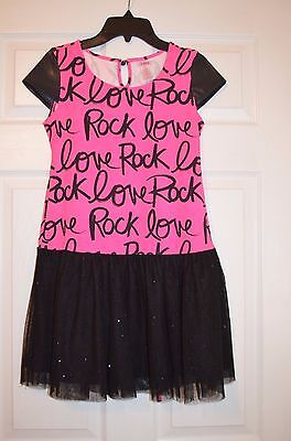 "Justice Girls 12 Hot Pink / Black Tulle Skirt ""I Love Rock"" Dress - EUC"