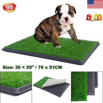 Pet Dog Potty Toilet Trainer Puppy Pee Patch Pad Tray Turf Restroom w/ Grass Mat