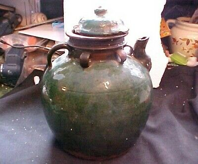 Early 19Th Century Chinese Green Glazed Oversized House Hold Water Kettle