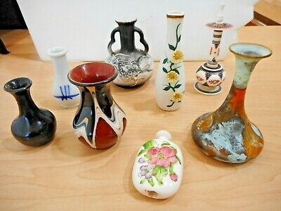 LOT of Vtg Miniature VASES International Collection of 8 Asian European Pottery