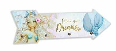 Mermaid Key Hook Arrow Shaped With Follow your DREAMS Quote by Kelly Lane
