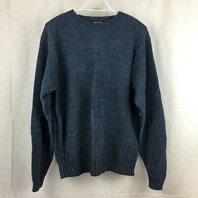 Nautica Mens Blue Textured Crew Neck Long Sleeve Pullover Sweater Size M