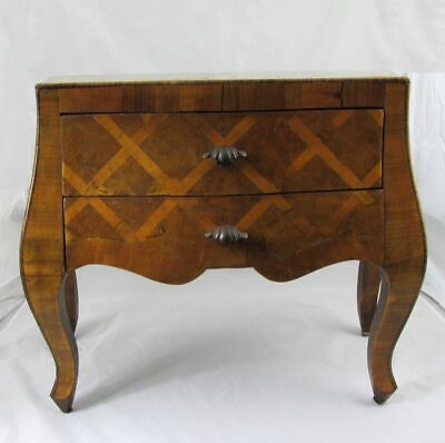 "Vintage Miniature Italian Inlaid Olive Wood Bombe Chest Commode Dresser 16""x18"""