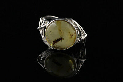 Fossil Insect CADDISFLY - BALTIC AMBER Silver Ring 6 r130918-6