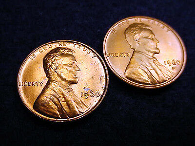 1960 P & D Small Date Lincoln Cents-2 Great Bu Coins!!!   #68
