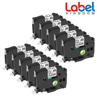 10 pk TZe131 TZ131 P-Touch Label Tape Compatible for Brother 12mm Black on Clear