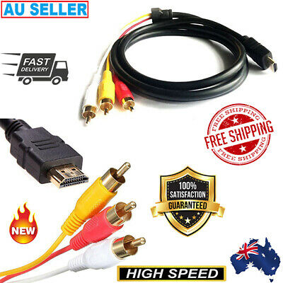 HDMI Male to 3 RCA Audio Video AV Cable Adapter Lead TV HDTV DVD 1080P AUS SELL