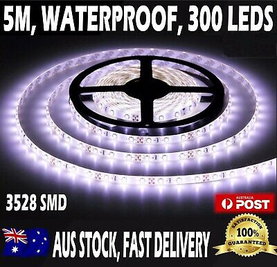 🖤3528SMD Waterproof 5M Cool White 12V Strip Lights Remote Dimmer for closet 🖤