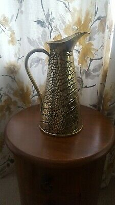 Vintage/Antique Solid Brass J S & S Lizard Skin Jug Early 1900s Arts & Crafts