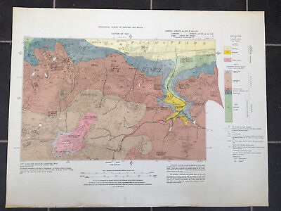 Vintage printed large map of 1920 Geological Survey of England & Wales Woolwich
