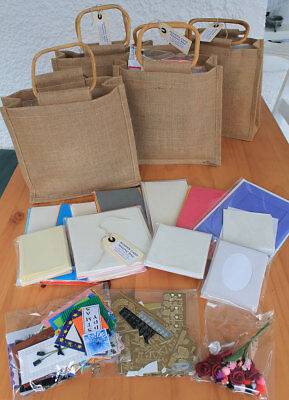 stickers scraps in jute bag toppers Bumper Card Making Kit Bag 70 card blanks
