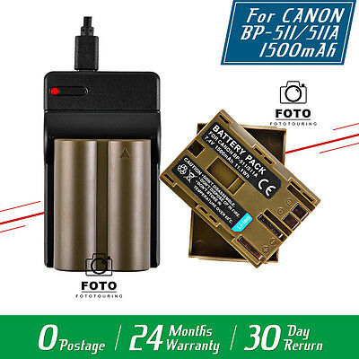 1500mAh Battery + USB Charger for BP-511A BP-511 Canon EOS 5D 10D 20D 30D 50D UK