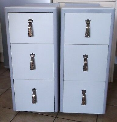 Pair Art Deco Shabby Chic Bedside Cabinets with 3 Drawers  C.W.S. Ltd.,