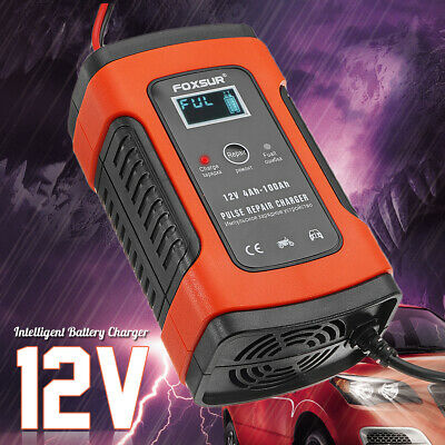 12V 5A LCD Motorcycle Car Battery Charger Pulse Repair AGM & Gel Wet Lead Acid