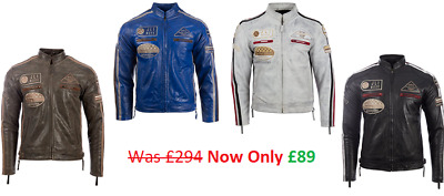 Mens Classic Retro Biker Racer Real Leather Jacket Zipped Casual Badges NEW SALE