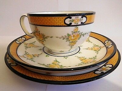 Early 20Th Century Mintons Yellow Roses Cup Saucer And Plate Trio