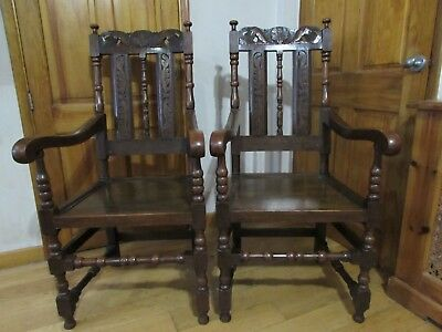 Antique Large English Pair Of 17th Century Style Oak Wainscot / Hall Chairs